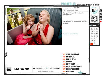Portfolio presentation on Sarah Wilson's site