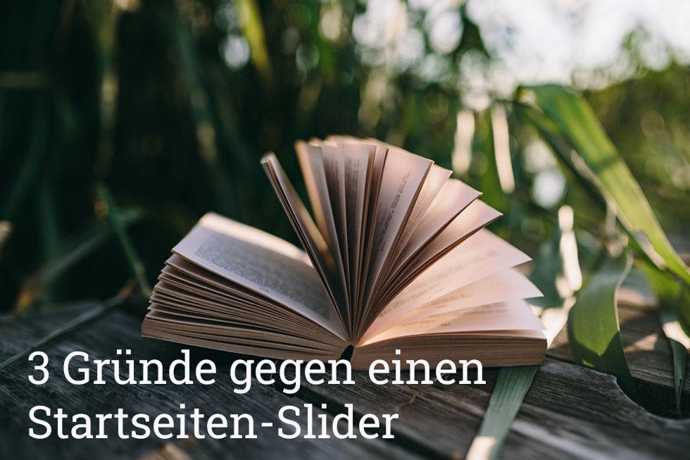 Buch statt Startseiten-Slider